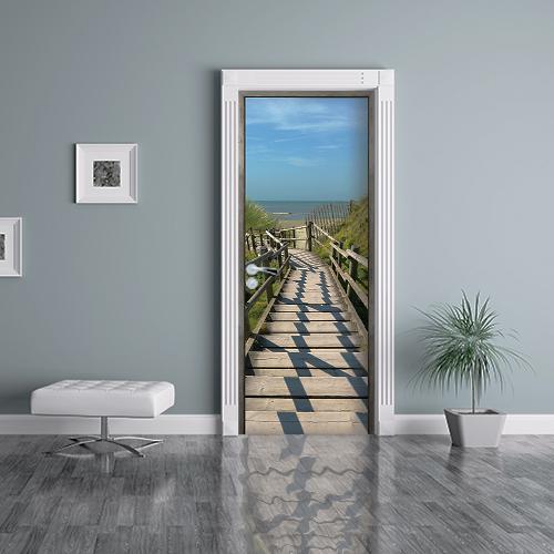 Sticker adhésif trompe l'oeil pour salle d'attente avec vue sur la Plage au soleil descente escaliers bois barrière sable