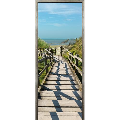 Autocollant adhésif sticker pour porte partir à la mer et vois l'eau turquoise et le sable chaud