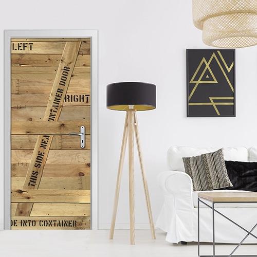 sticker Container en bois avec une lampe design