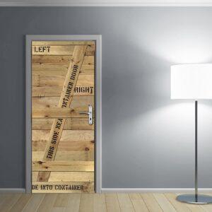 Autocollant container en bois à mettre sur une porte