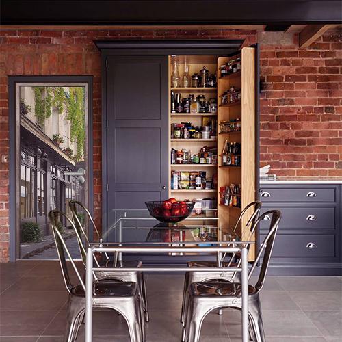 Sticker pour cuisine autocollant adhésif pour salle à manger moderne en brique et métal ambiance gris, orange style usine