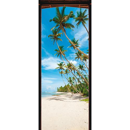 Trompe l'oeil pour porte au bord d'un mer claire d'un bleu éclatant bordée de sable blanc et de palmiers de toutes tailles
