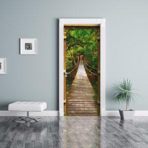 """Sticker de porte """"Amazonie"""" avec détail cadre en bois"""