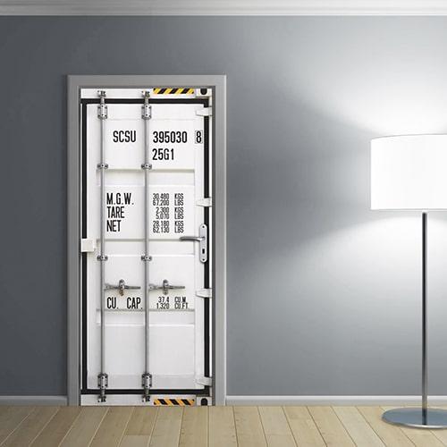 Stickers adhésif container sur un mur de salon