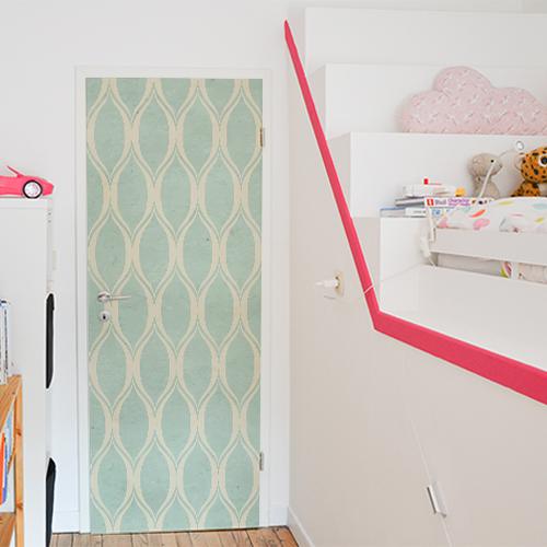 Chambre pour enfant décoré avec un sticker autocollant motif pastel vert