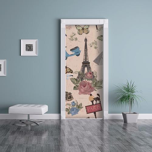 Maison bleue avec un sticker autocollant décoratif modèle Paris collé sur l'intérieur de la porte