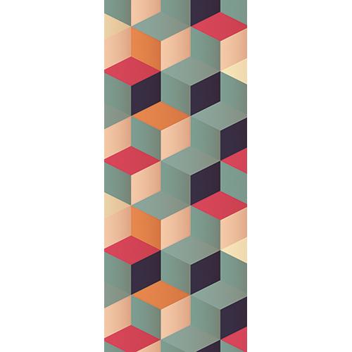 Sticker décoratif autocollant pour portes Cubes en 3D trompe l'œil