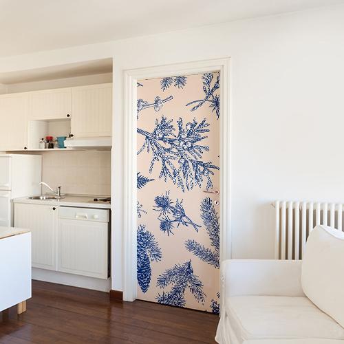 Sticker autocollant plantes bleues collé sur la porte d'un salon tout blanc