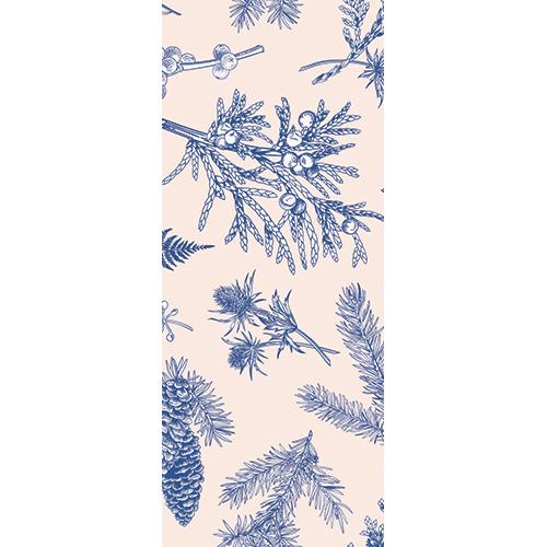 Autocollant modèle plantes bleues à sticker sur une porte