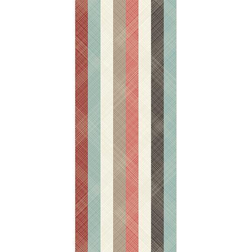 Adhésif sticker pour portes avec bandes multicolores et traits fin en diagonale