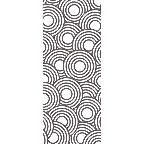 Sticker autocollant pour portes modèle blanc et noirs formant des cercles
