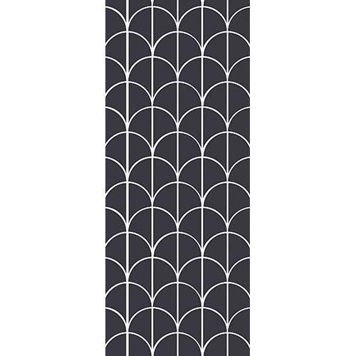 Sticker pour portes écailles de poisson trait fin blanc divisé en deux sur fond bleu très foncé