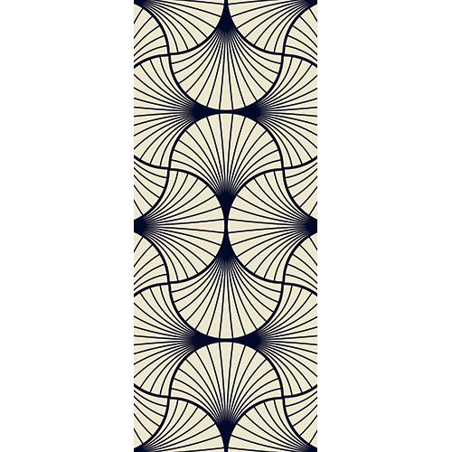 Sticker décoratif autocollant modèles éventails asiatiques noirs pour portes