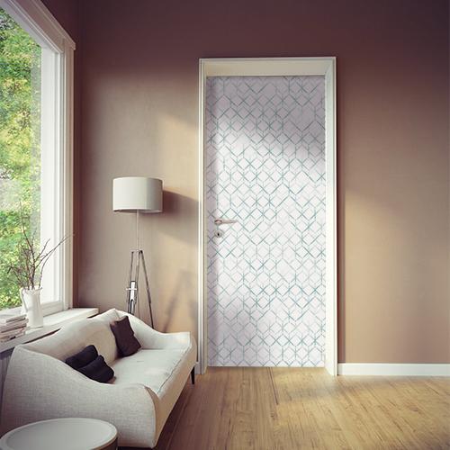 Pièce moderne dont la porte est décorée avec un sticker autocollant ruche végétale en 3D