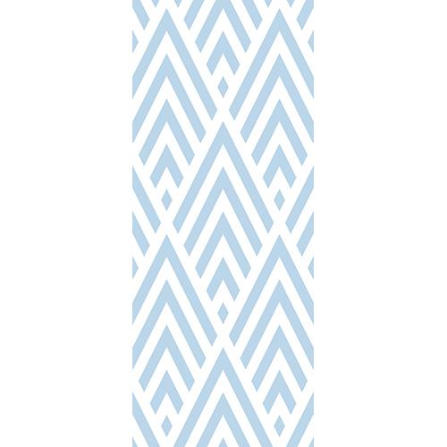Sticker losange chevrons bleu clair pour porte décorative