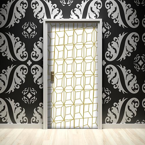 Mur noir avec une porte ornée de lingots en 3D trompe l'oeil blanc et or