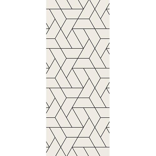 Adhésif autocollant pour portes avec motifs triangulaires de traits fin sur fond crème