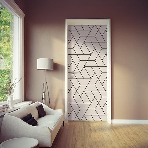 Salon élégant et moderne avec un sticker autocollant moderne format géométrique