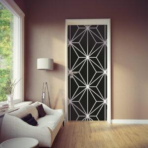Sticker adhésif moderne motif diamant noir collé sur la porte d'une pièce à vivre moderne