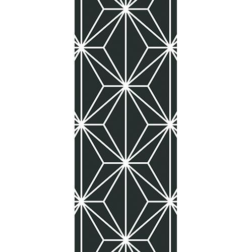 Sticker adhésif de luxe diamants géométriques noirs pour portes