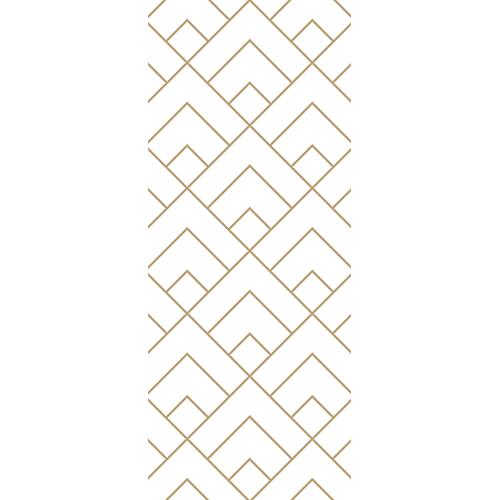 Sticker décoratif adhésif pour portes motif pyramides or et blanches