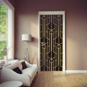 Sticker autocollant motif noir et or collé sur la porte d'un salon moderne et élégant