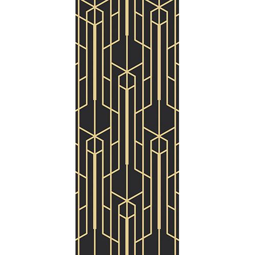 Autocollant adhésif style art déco avec motifs doré sur fond noir