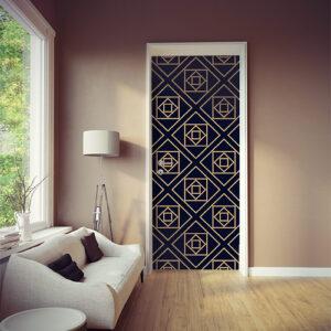 Sticker autocollant décoratif modèle formes géométrique noirs et or collé sur la porte d'une pièce à vivre moderne