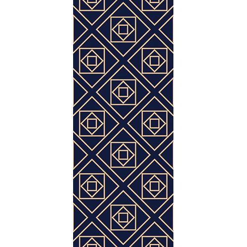 adhésif pour portes avec carré losange or et fond bleu foncé