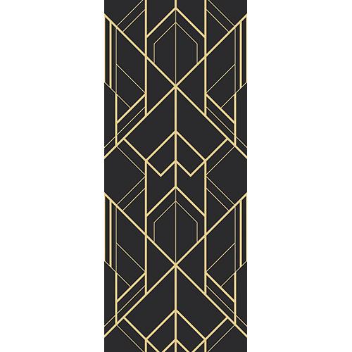 Sticker autocollant modèle luxueux pour portes doré et noir