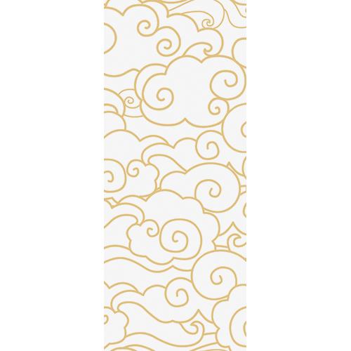 Adhésif déco pour portes et placards avec motig nuages blanc et doré