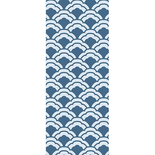 Sticker adhésif décoratif pour portes modèle écailles de poisson bleu thème Asie
