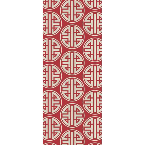 Sticker autocollant pour portes motif chinois blanc sur fond rouge