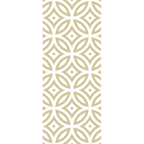 Sticker autocollant décoratif frise géométrique blanche et or