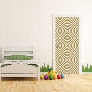 Chambre d'enfant dont la porte est décorée avec un sticker autocollant ronds dorés