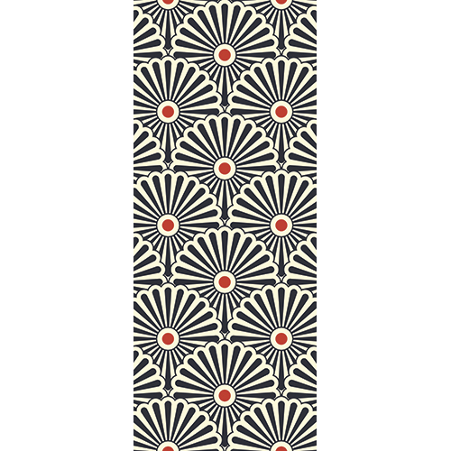 Sticker décoratif pour portes modèle Eventails tri-colores