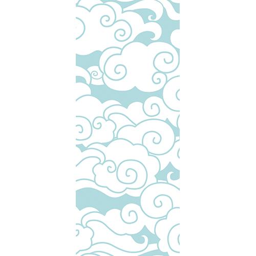 Sticker adhésif décoratif nuage blanc sur fond bleu pour portes thème Asie style japonais ou japon