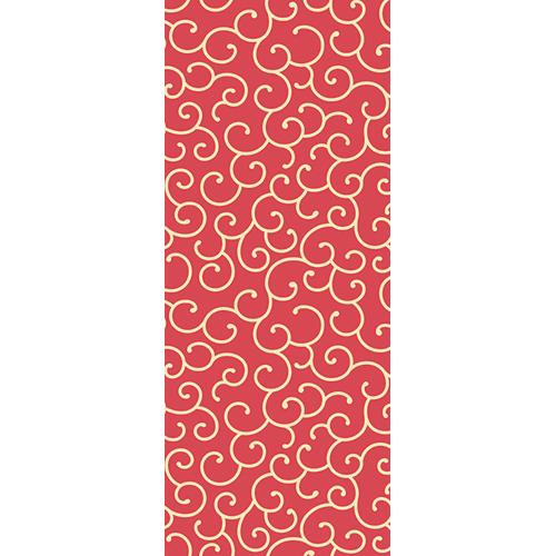 Sticker adhésif arabesques rouges pour portes thème Asie chez WSH