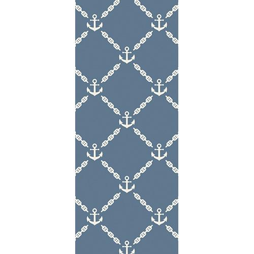 Sticker décoratif autocollant pour portes Ancres blanches sur fond bleu