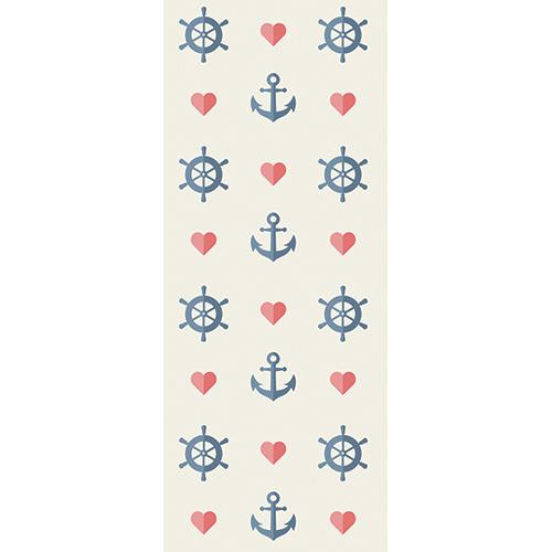 Sticker adhésif ancres marines et coeurs rouges sur fond blanc pour portes