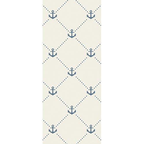 Sticker pour porte autocollant et adhésif avec des ancres de bateau bleues reliées par des petits points bleu marine pâle