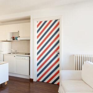 Sticker adhésif bandes tri-colores bleues blanches rouges collée sur la porte