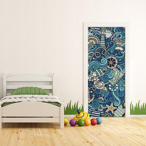 Chambre pour enfant avec un sticker autocollant déco mer agitée avec des dessins collé sur la porte