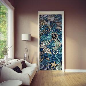 Pièce à vivre moderne et éclairée dont la porte est décorée avec un sticker autocollant décoratif mer tourmentée collé sur la porte