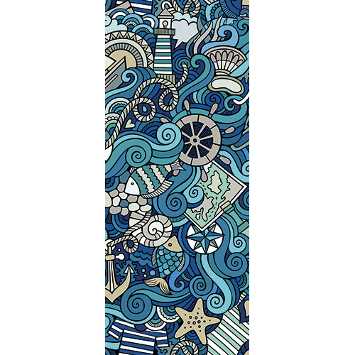 Sticker décoratif adhésif pour portes modèle mer agitée