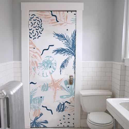 Sticker décoratif original plantes marines collé sur la porte d'entrée des WC