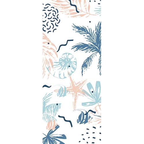 Sticker décoratif adhésif pour portes intérieure fond marin exotique