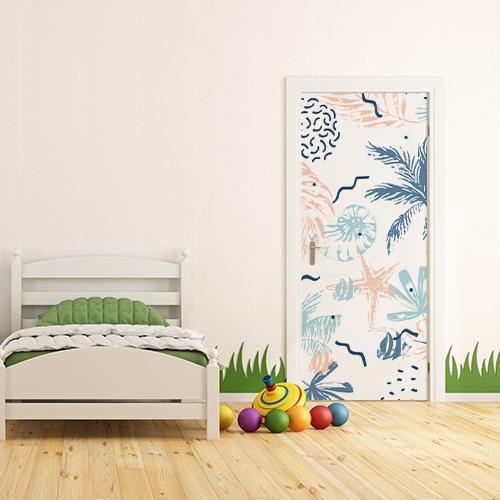 Sticker adhésif coloré représentant des plantes marines collé sur la porte d'entrée de la chambre des enfants