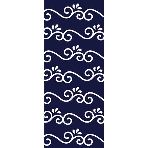 Sticker décoratif autocollant arabesque bleue et blanche pour portes