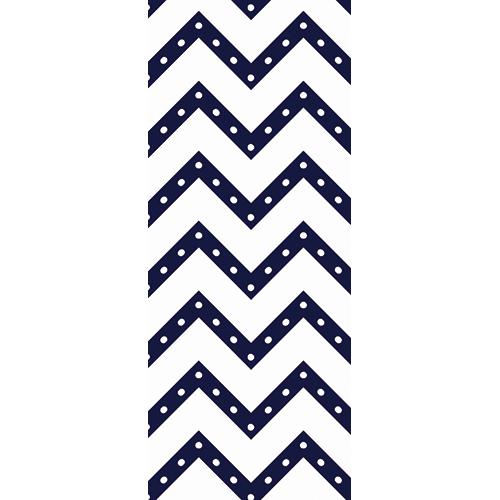 Sticker adhésif autocollant chevrons bleus à pois blancs collé sur la porte de la chambre pour enfants